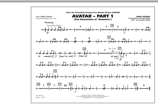Avatar: Part 1 - Aux Percussion (Marching Band)