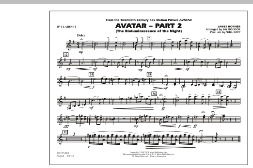 Avatar: Part 2 - Bb Clarinet (Marching Band)
