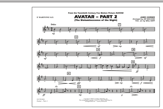Avatar: Part 2 - Eb Baritone Sax (Marching Band)
