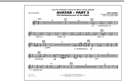 Avatar: Part 2 - 3rd Bb Trumpet (Marching Band)
