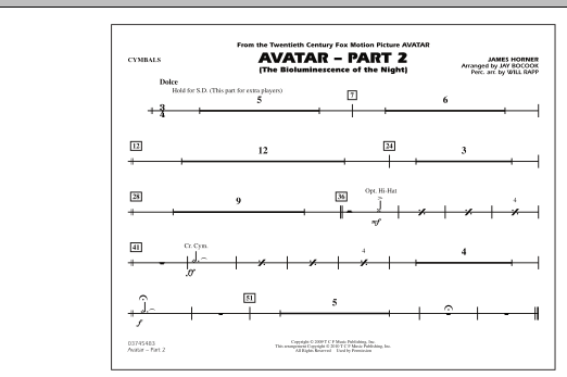 Avatar: Part 2 - Cymbals (Marching Band)