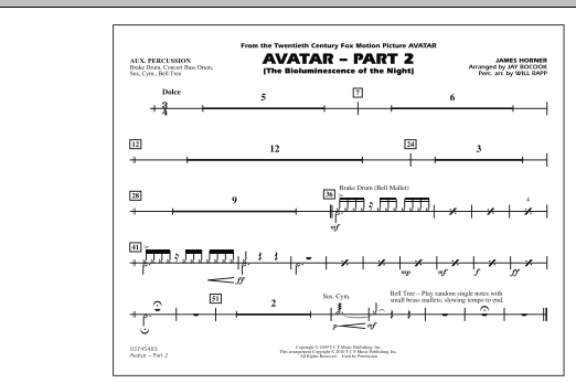 Avatar: Part 2 - Aux Percussion (Marching Band)