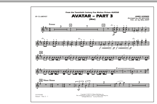 Avatar: Part 3 (War) - Bb Clarinet (Marching Band)