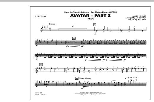 Avatar: Part 3 (War) - Eb Alto Sax (Marching Band)