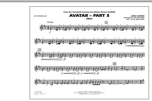 Avatar: Part 3 (War) - Bb Tenor Sax (Marching Band)