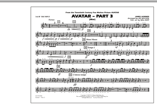 Avatar: Part 3 (War) - 3rd Bb Trumpet (Marching Band)