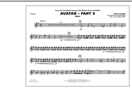 Avatar: Part 3 (War) - F Horn (Marching Band)