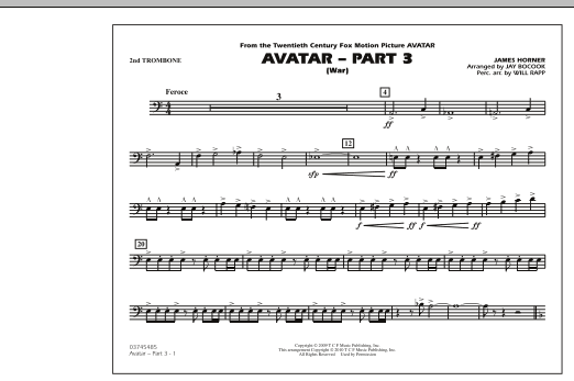 Avatar: Part 3 (War) - 2nd Trombone (Marching Band)