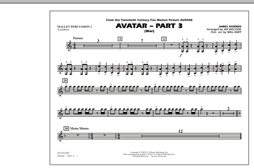 Avatar: Part 3 (War) - Mallet Percussion 2 (Marching Band)