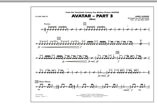 Avatar: Part 3 (War) - Snare Drum (Marching Band)