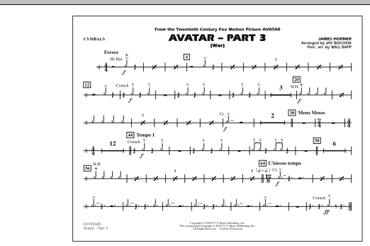 Avatar: Part 3 (War) - Cymbals (Marching Band)
