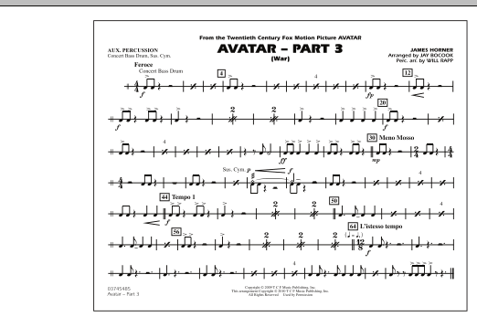 Avatar: Part 3 (War) - Aux Percussion (Marching Band)