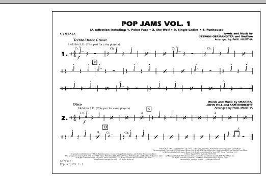 Pop Jams: Vol. 1 - Cymbals (Marching Band)
