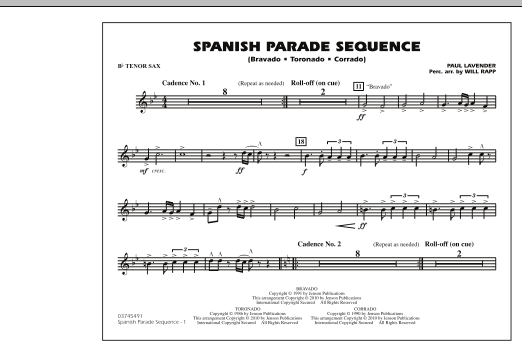 Spanish Parade Sequence - Bb Tenor Sax (Marching Band)