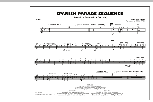Spanish Parade Sequence - F Horn (Marching Band)