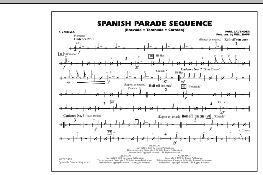 Spanish Parade Sequence - Cymbals (Marching Band)