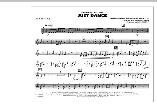Just Dance - 3rd Bb Trumpet (Marching Band)