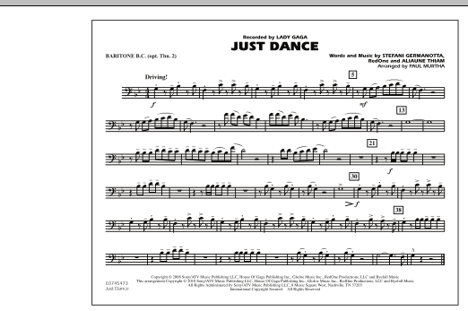 Just Dance - Baritone B.C. (Opt. Tbn. 2) (Marching Band)