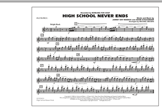 High School Never Ends Flutepiccolo Sheet Music Michael Brown
