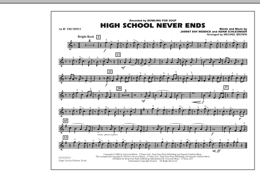 High School Never Ends - 1st Bb Trumpet (Marching Band)