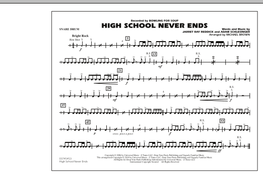 High School Never Ends - Snare Drum (Marching Band)