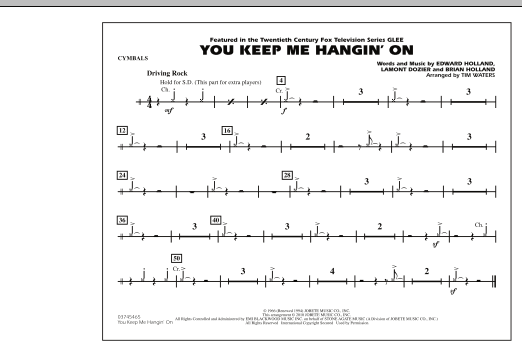 You Keep Me Hangin' On - Cymbals (Marching Band)