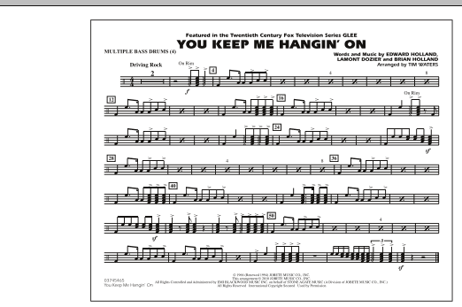 You Keep Me Hangin' On - Multiple Bass Drums (Marching Band)