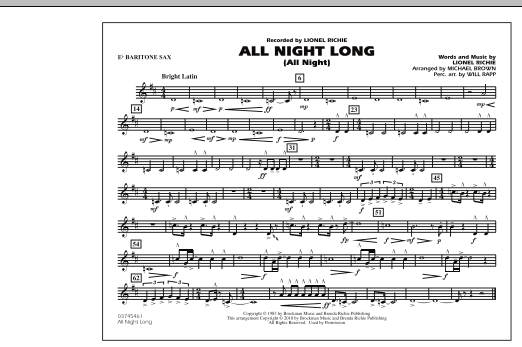 All Night Long (All Night) - Eb Baritone Sax (Marching Band)
