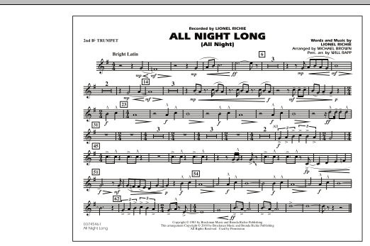 All Night Long (All Night) - 2nd Bb Trumpet (Marching Band)