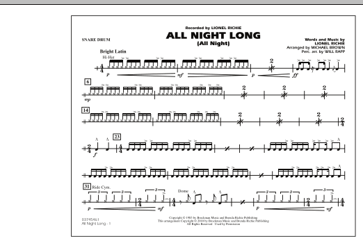 All Night Long (All Night) - Snare Drum (Marching Band)