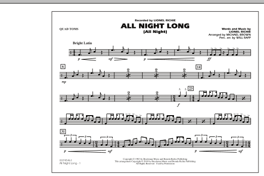All Night Long (All Night) - Quad Toms (Marching Band)