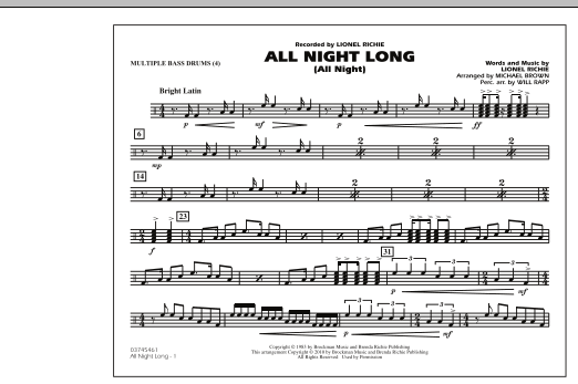 All Night Long (All Night) - Multiple Bass Drums (Marching Band)