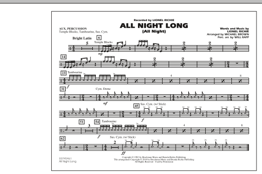 All Night Long (All Night) - Aux Percussion (Marching Band)