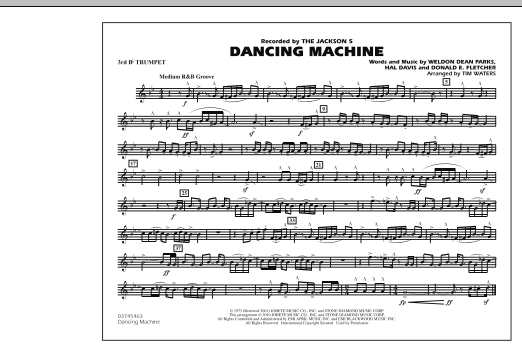 page one of Dancing Machine - 3rd Bb TrumpetASALTTEXT