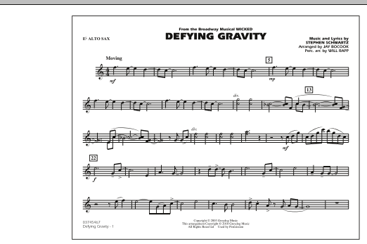 Defying Gravity (from Wicked) - Eb Alto Sax (Marching Band)