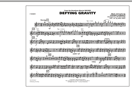 Defying Gravity (from Wicked) - F Horn (Marching Band)