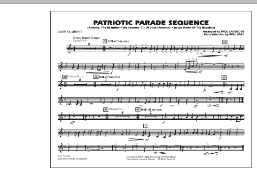 Patriotic Parade Sequence - 2nd Bb Clarinet (Marching Band)