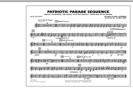 Patriotic Parade Sequence - 2nd Bb Trumpet (Marching Band)