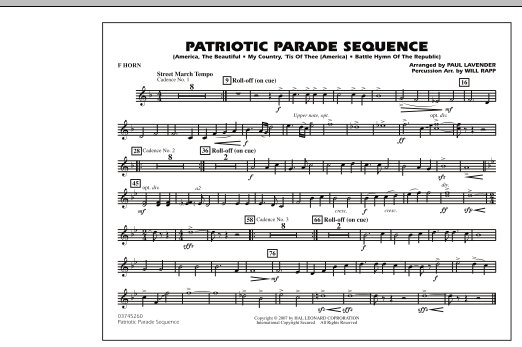 Patriotic Parade Sequence - F Horn (Marching Band)