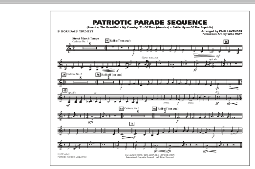 Patriotic Parade Sequence - Bb Horn/3rd Bb Tpt (Marching Band)