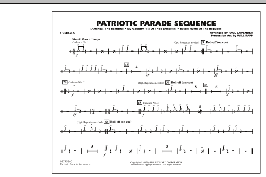 Patriotic Parade Sequence - Cymbals (Marching Band)