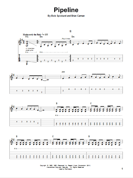 Pipeline By The Ventures Guitar Tab Play Along Guitar Instructor