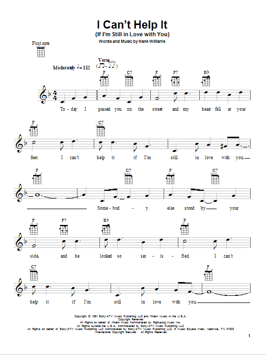 Tablature guitare I Can't Help It (If I'm Still In Love With You) de Hank Williams - Ukulele
