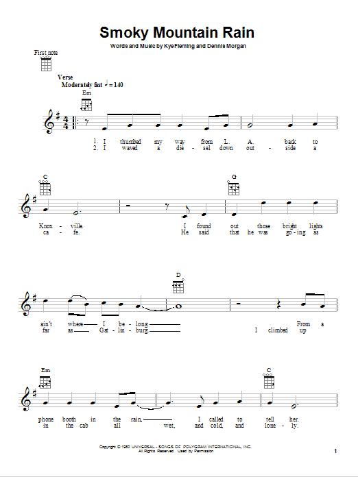 Tablature guitare Smoky Mountain Rain de Ronnie Milsap - Ukulele