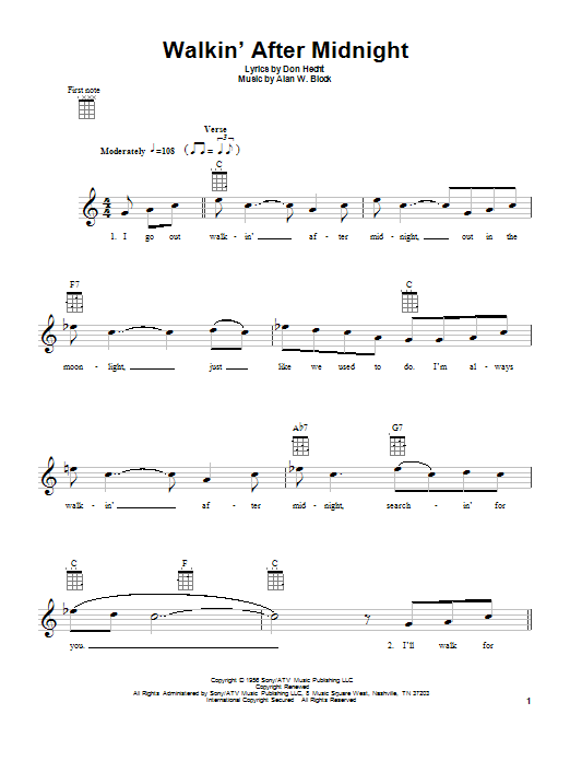 Tablature guitare Walkin' After Midnight de Patsy Cline - Ukulele