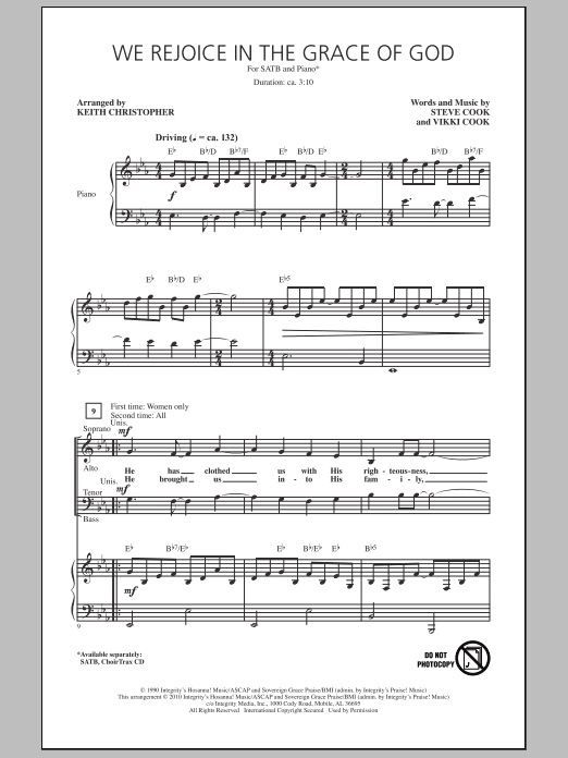 We Rejoice In The Grace Of God Sheet Music
