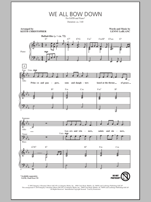 We All Bow Down Sheet Music