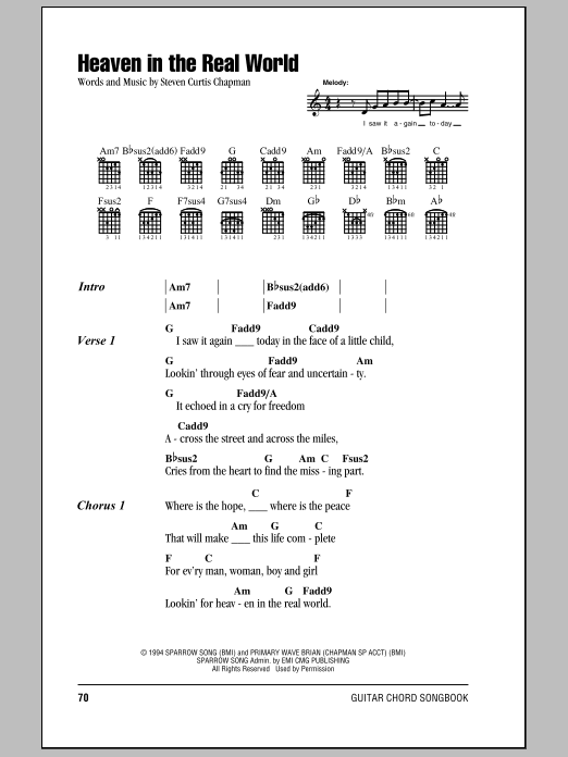 Heaven In The Real World Sheet Music