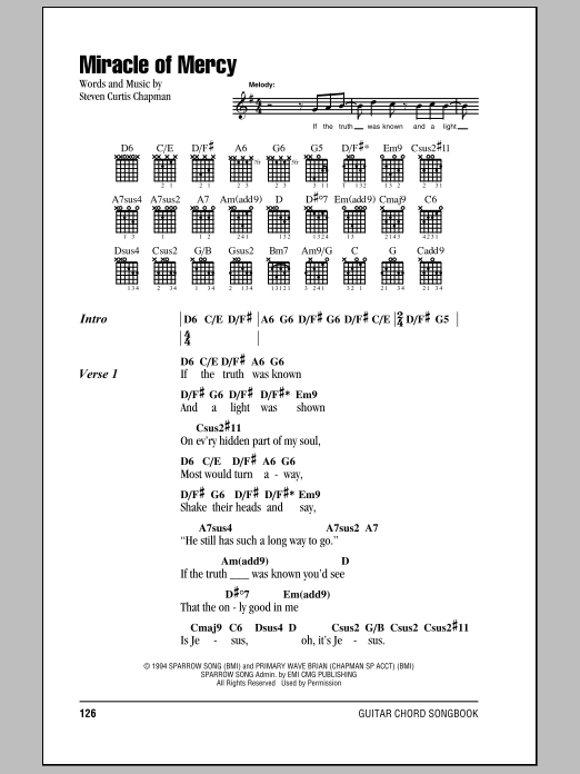 Miracle Of Mercy by Steven Curtis Chapman - Guitar Chords/Lyrics ...