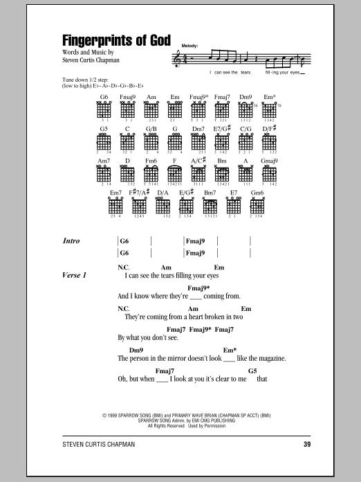 Fingerprints Of God Sheet Music